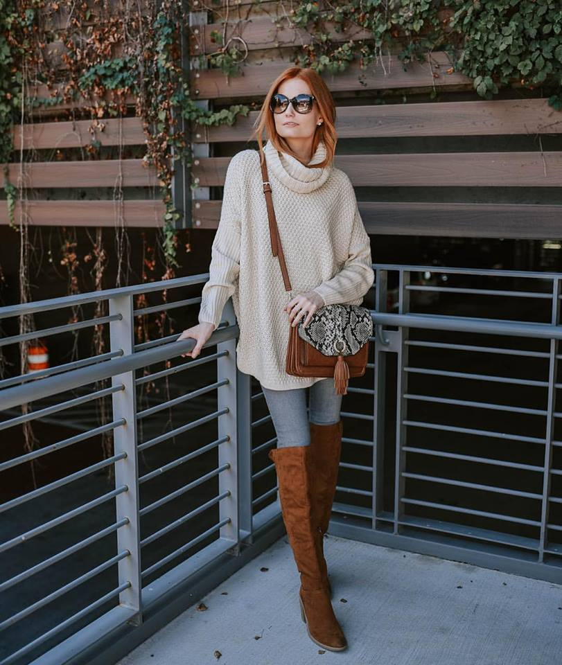 Chunky Sweater With Jeans, Thigh Shoes And Crossbody Bag
