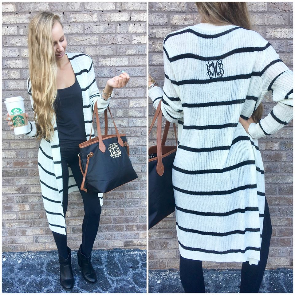Classy Black Outfit With Long Black & White Stripes Cardigan And Handbag