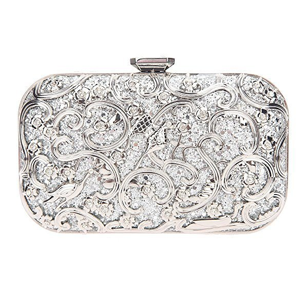 Classy Floral Silver Clutch Bag For Wedding