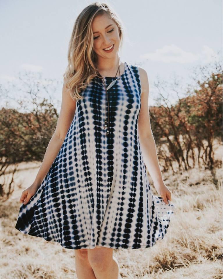 Comfy Black & White Tie Dye Dress