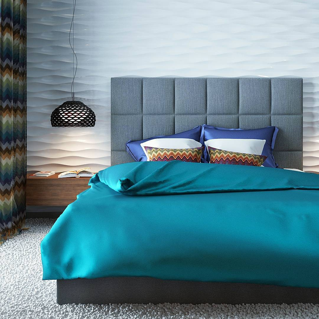 Contemporary Bedroom With Bright Colour Contrast