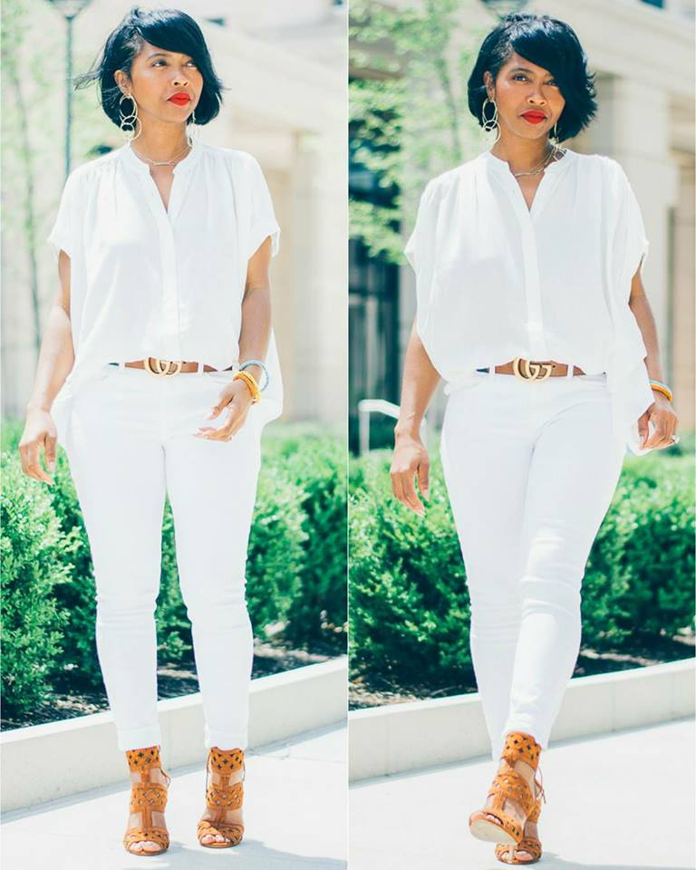 Cool Button Down Shirt With White Bottom, Leather Belt and Heels