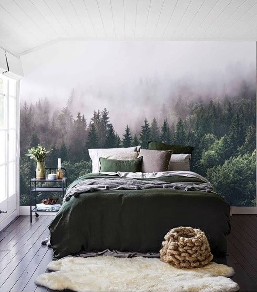 Cozy Contemporary Bedroom With Beautiful Wall Paper