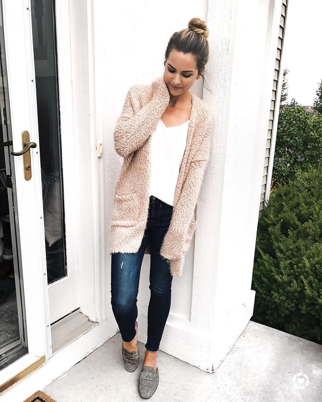 Cozy Nude Cardigan With White Top And Jeans