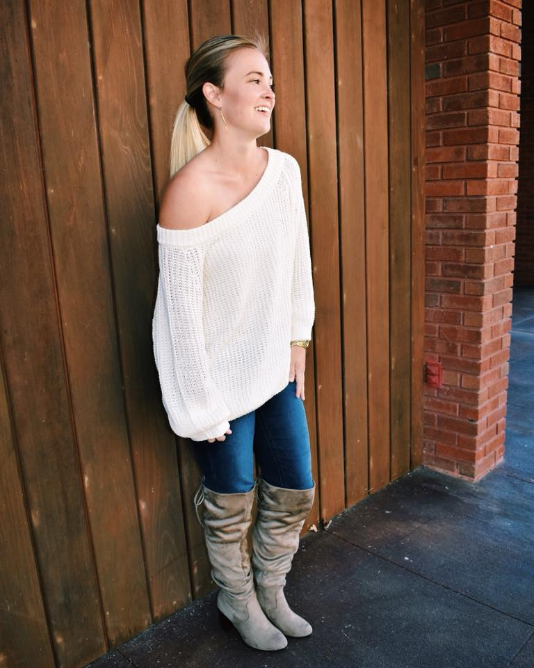 Cream Off The Shoulder Sweater With Jeans And Knee Shoes