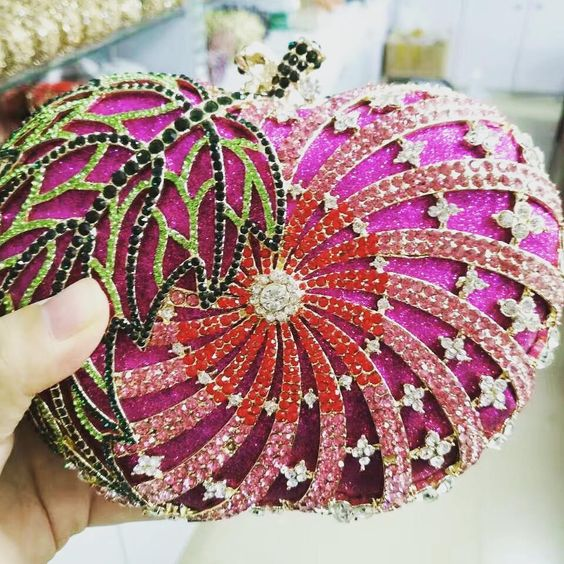 Crystal Clutch Bag In Shape Of Apple