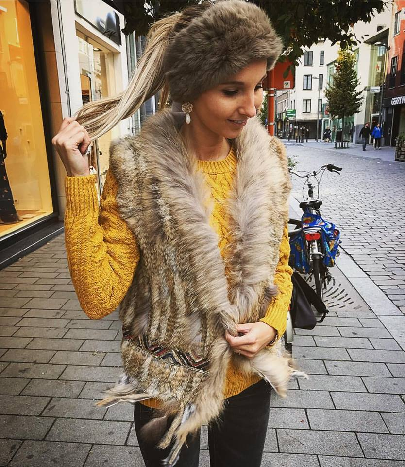 Dark yellow Sweater With Faux Fur Half Sleeves Jacket