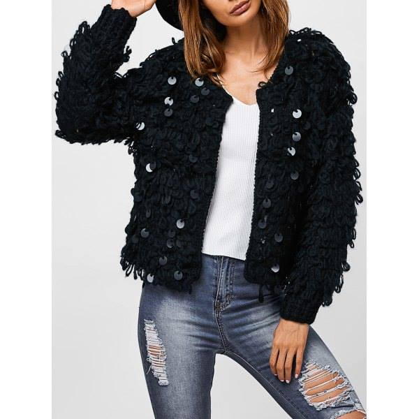 Dashing Sequined 3D Cardigan Paired With Distressed Jeans