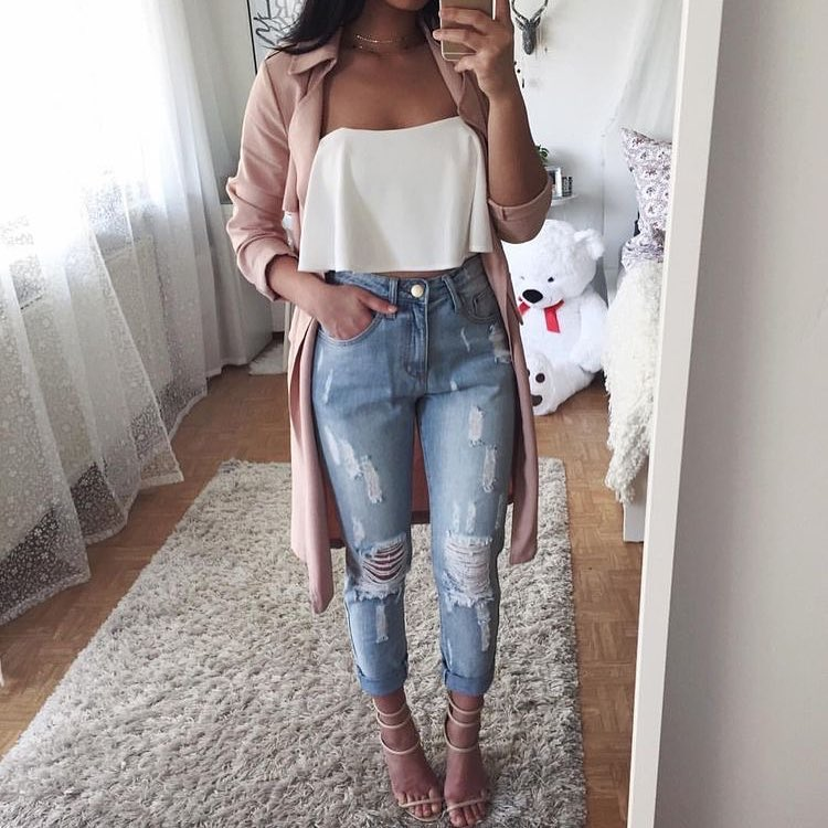 Dazzling Pink Collar Cardigan Paired With Off The Shoulder Top With Distressed Jeans