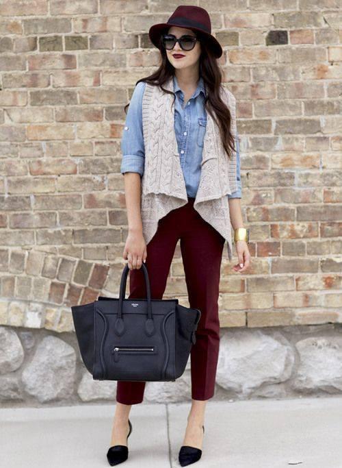 Denim Shirt, Maroon Crop Pant And Grey Knitted Jacket