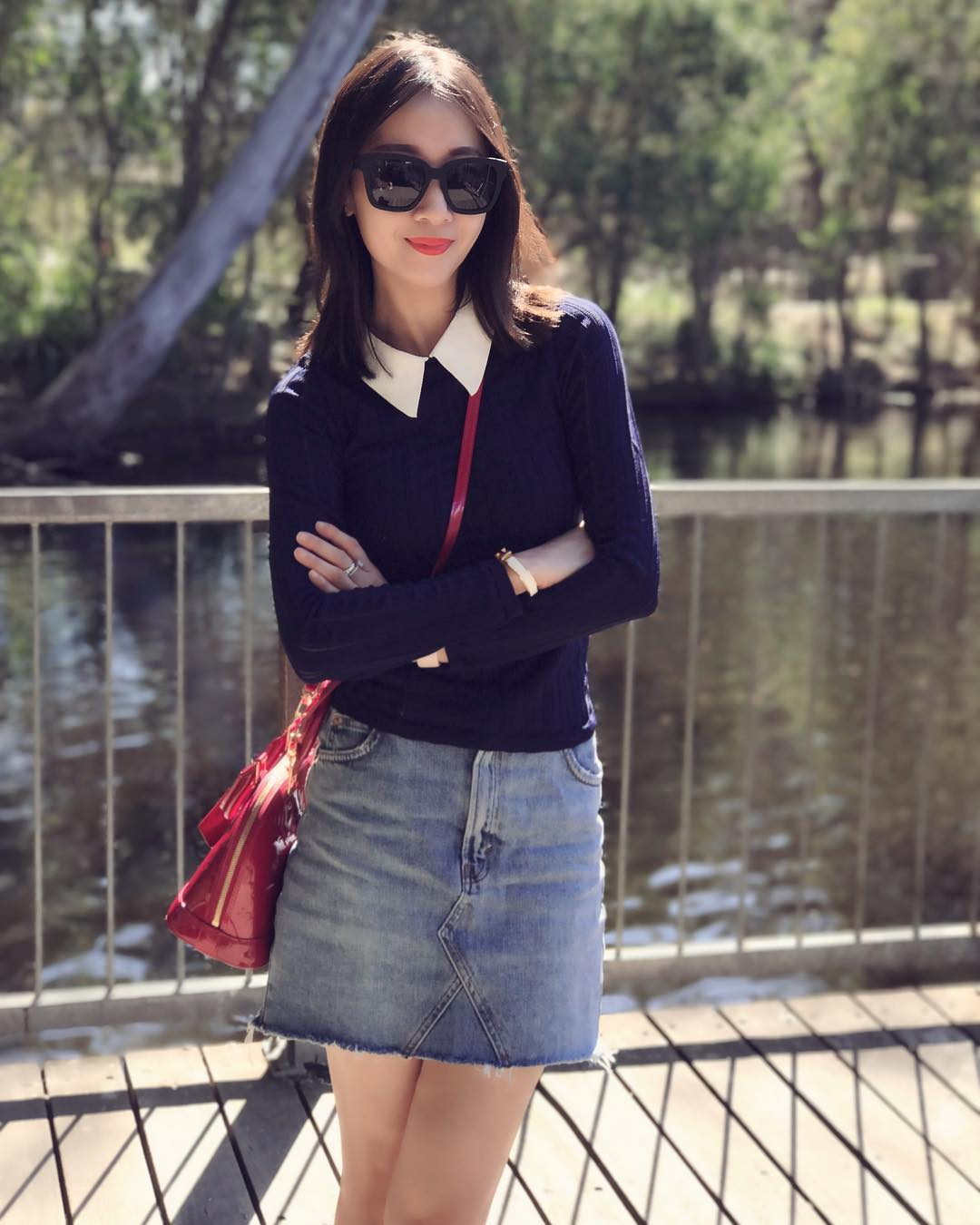 Denim Short Skirt With Plane Sweater