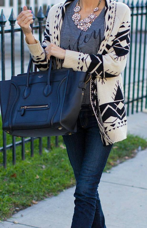 Designer Cream And Black Open Cardigan Paired With Grey Top, Jeans And Handbag