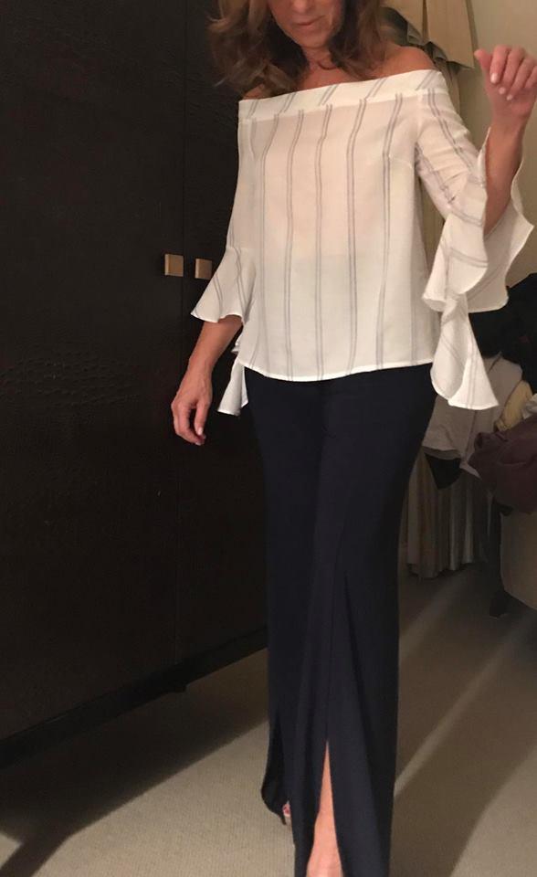 Designer Off Shoulder Stripes Top With Black Front Slits Pants