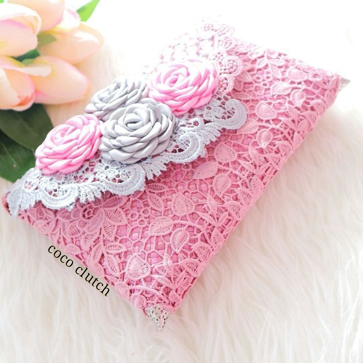 Dusky Pink Lace Clutch Bag With Flowers