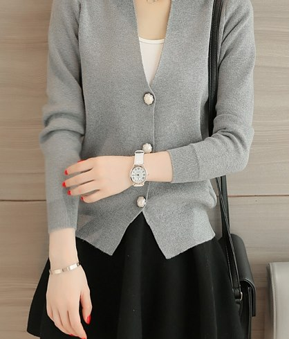 Elegant Grey Button Down Short Cardigan With Black Mini Skirt