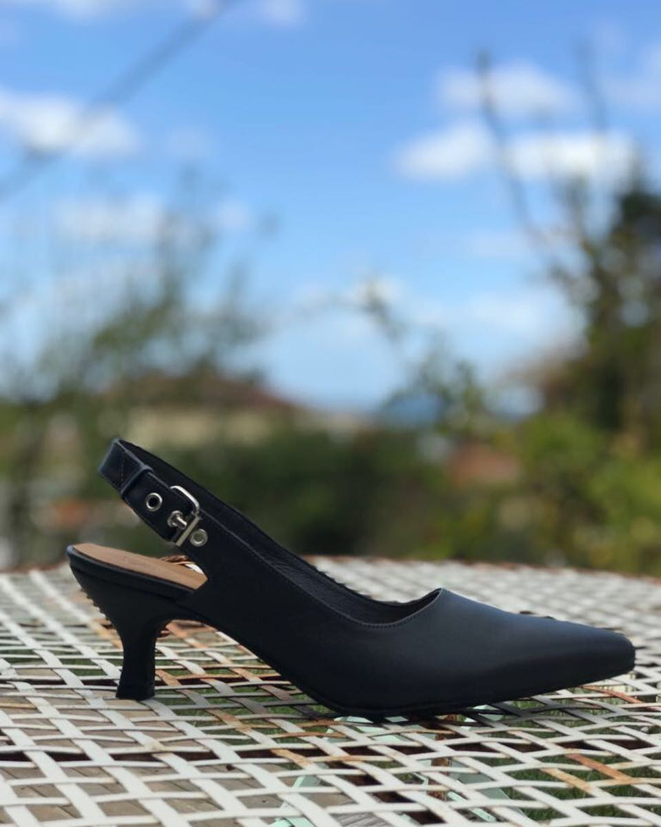 Elegant Sling Back Black Kitten Heels