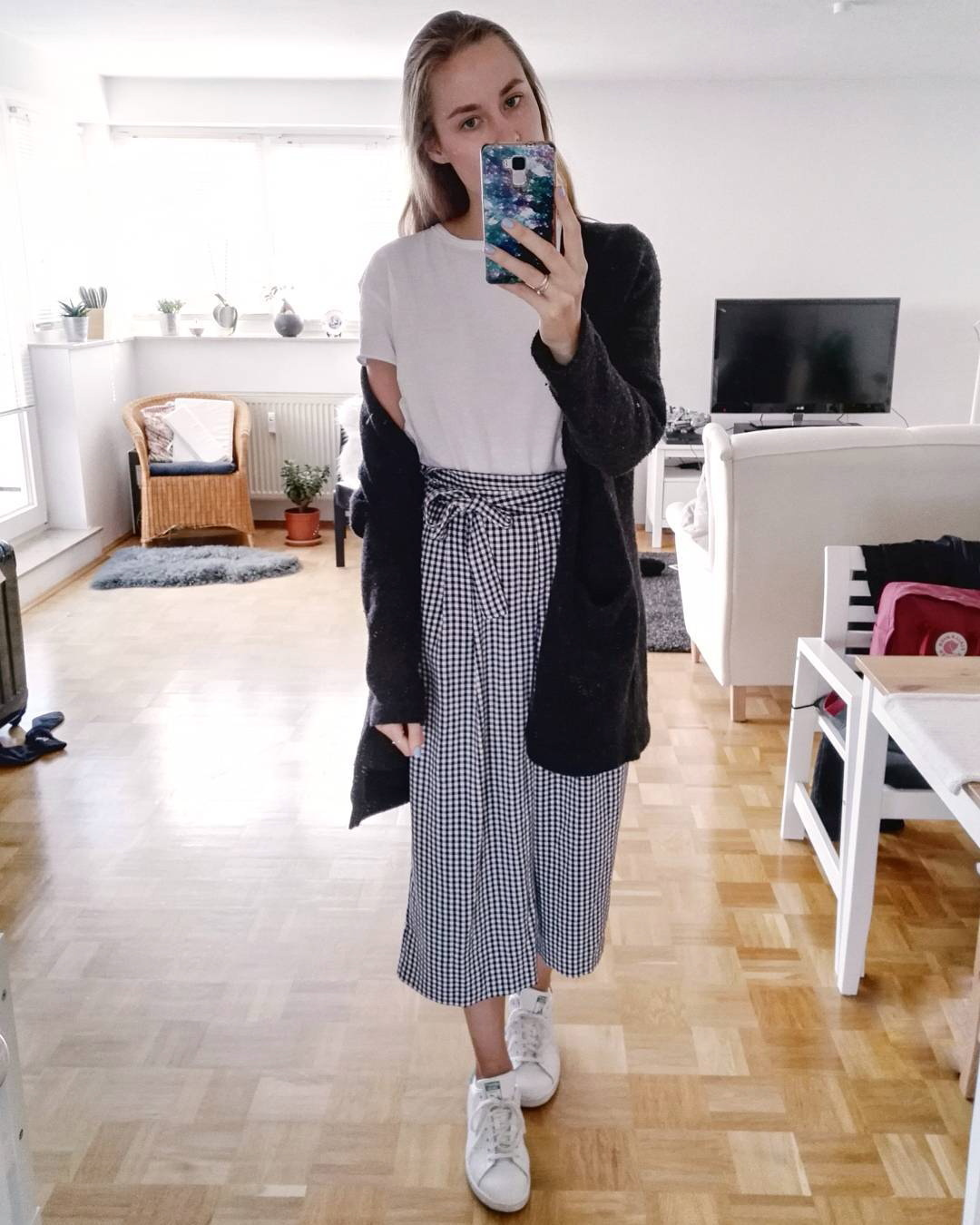 Elegant White Top With Black & White Checkered Crop Pant And Light Weight Jacket