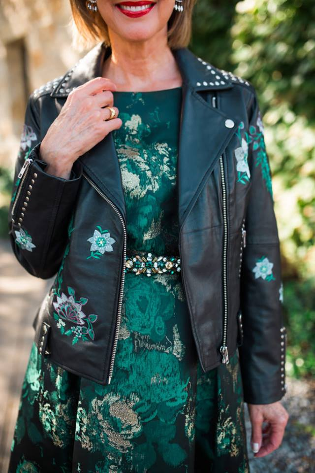 Embroidered Leather Moto Jacket With Printed Midi