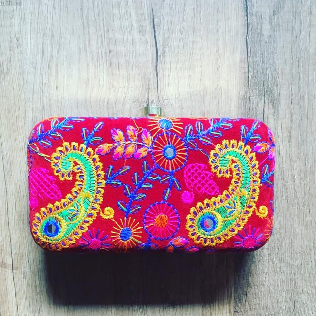 Embroidered Suede Party Clutch Bag