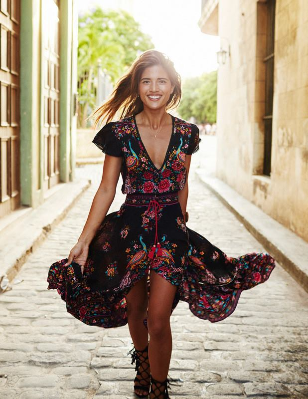 Etehnic Floral Print Boho Summer Outfit