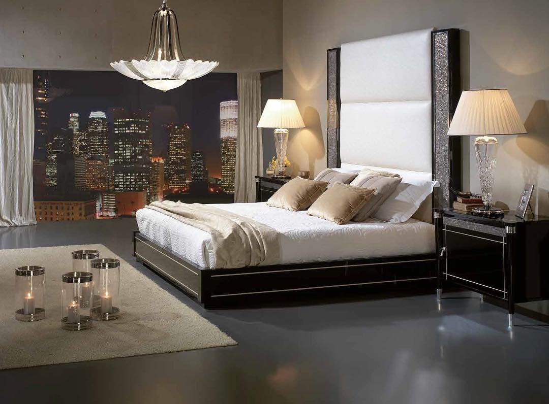 Exaggerated Tall Headboard With Swarovski Crystals, Big Glass Wall And Chandelier