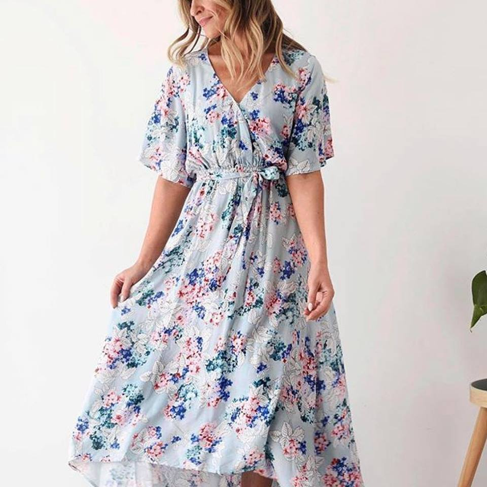 Exclusive Mint Chic Floral Maxi Dress For Spring
