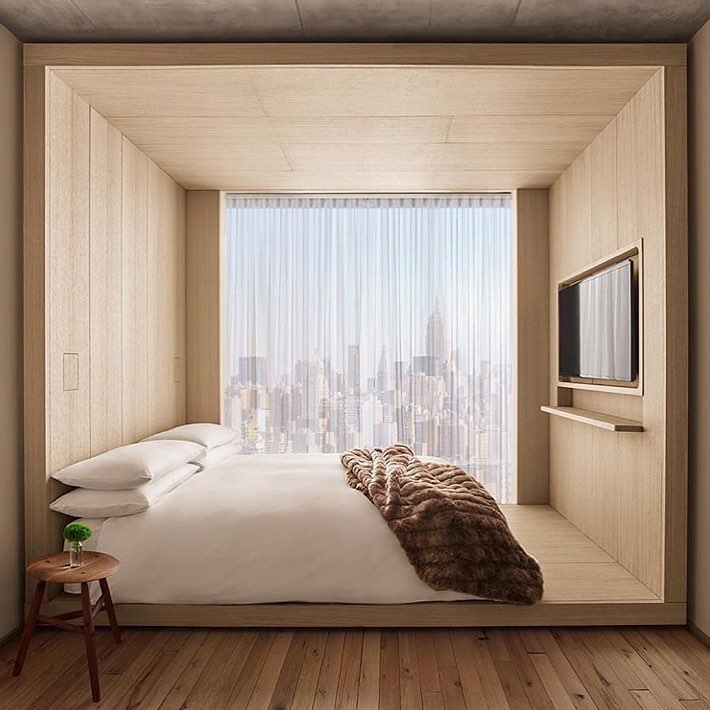 Exquisite Bedroom Featuring Glass Wall And Wooden Texture
