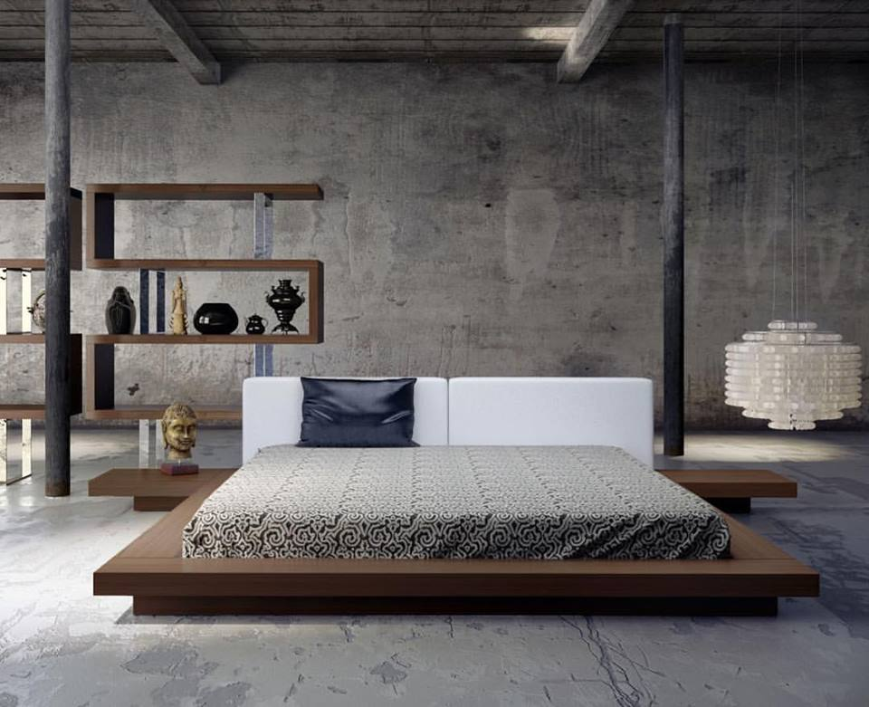 Eye-Catching Platform Bed With Symmetrical Nightstand