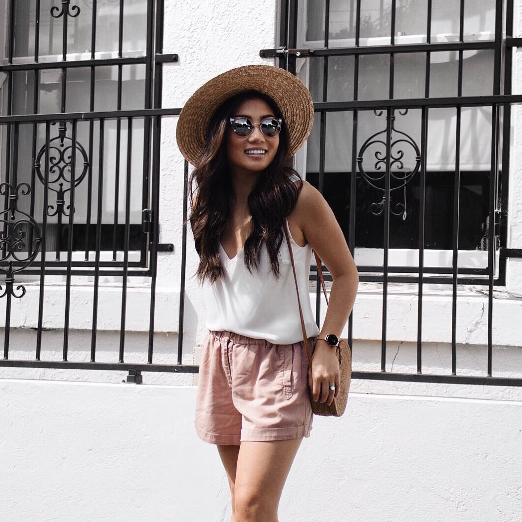 Eye-Catching White Top With Pink Shorts, Crossbody Bag And Hat