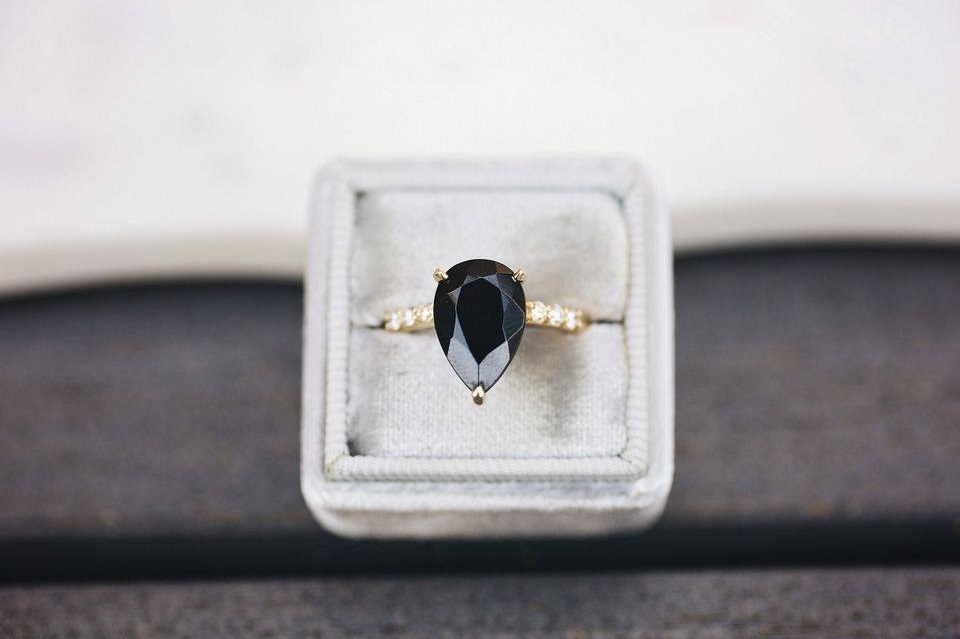 Fabulous Engagement Ring Of Black Diamond