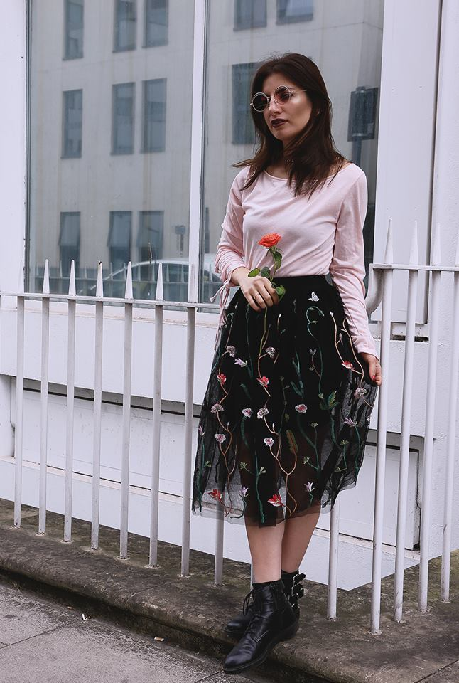 Fabulous Floral Print Black Skirt With Pink Round Neck Top