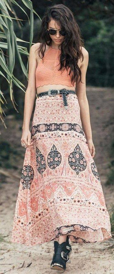 Fabulous Orange Halter Neck Crochet Crop Top With Printed Long Skirt, Leather Belt And Open Toe Shoes