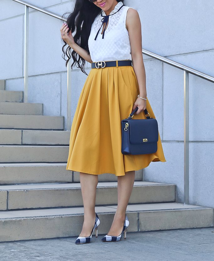 Fabulous Sleeveless Woven Tie-Neck White Top With Yellow Midi Skirt, Gingham Pumps And Handbag