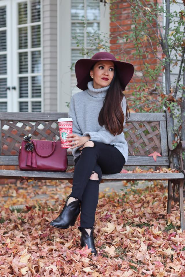 Fabulous Turtle Neck Grey Sweater Paired With Distressed Jeans, Ankle Shoes, Handbag And Burundy Hat