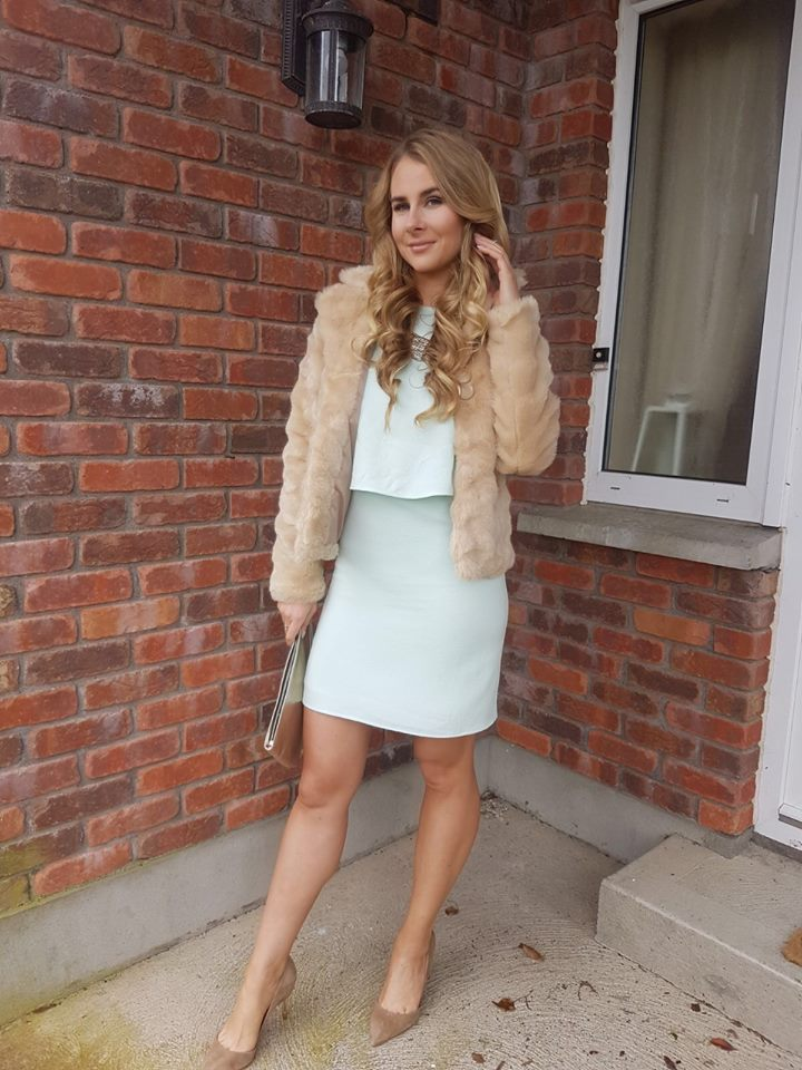Fabulous White Top With Mini Skirt And Faux Feather Jacket