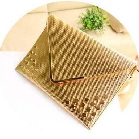 92226ce9cbe Fancy Golden Metallic Clutch Bag - Blurmark