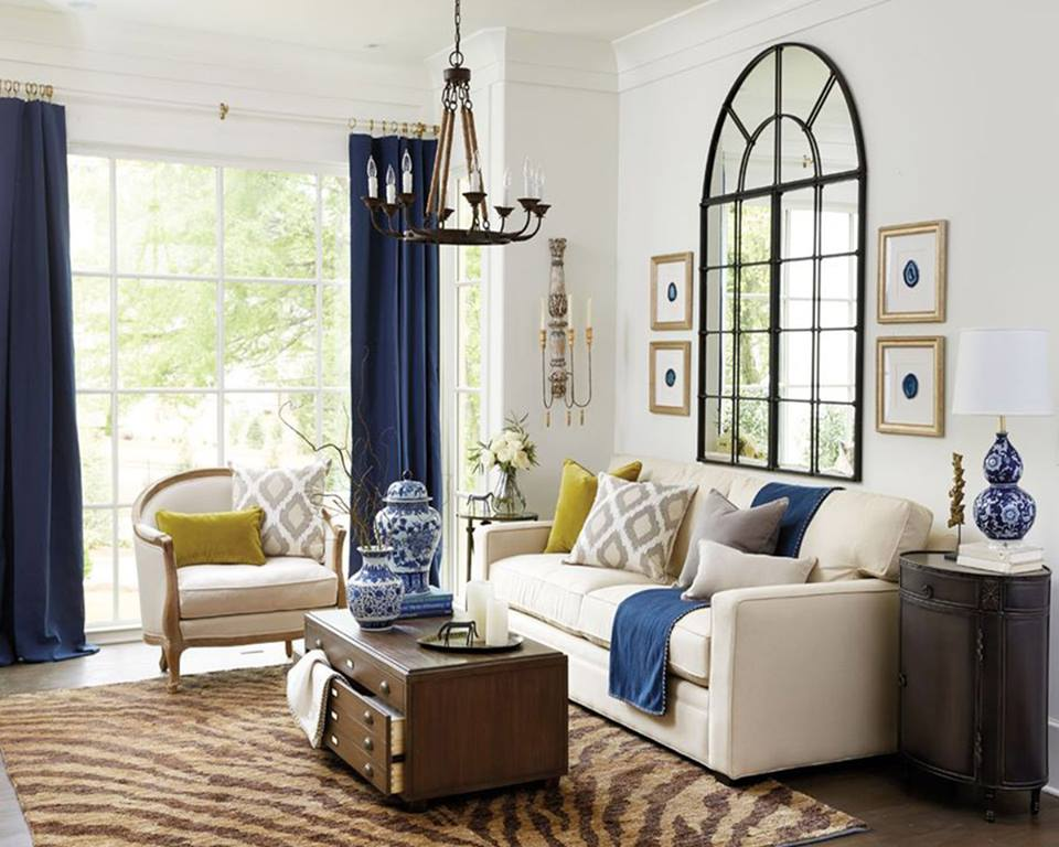 Fantastic Contemporary Living Room With Blue Curtains And Beige Sofa