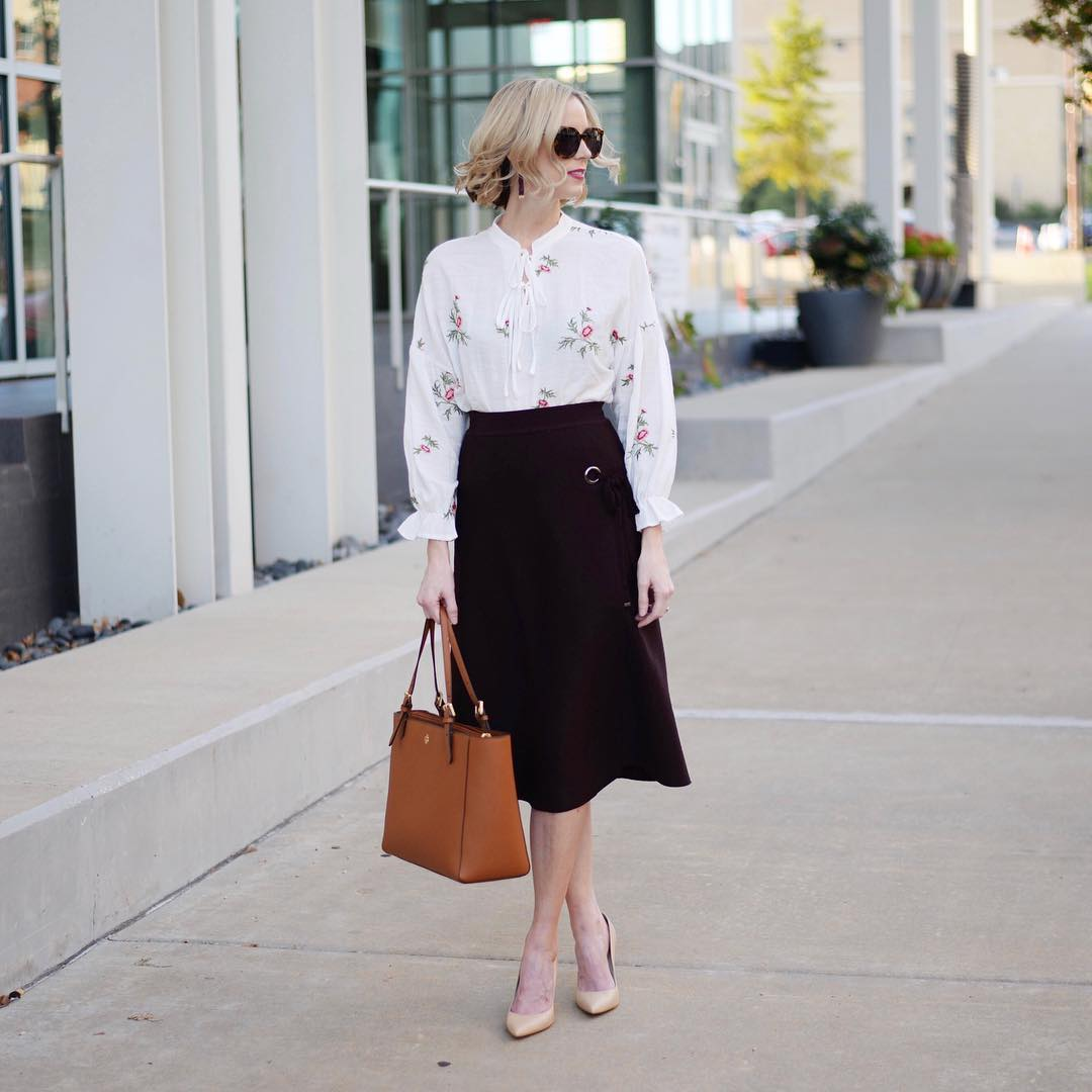 Floral Top With Brown Thick Skirt