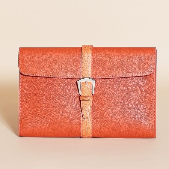 Formal Leather Solid Colour Clutch Bag
