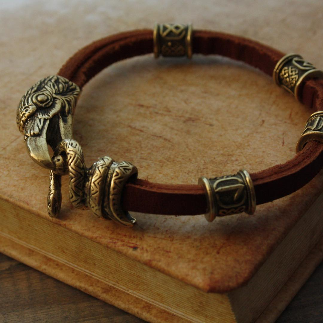 Genuine Leather Bracelet With bronze Raven