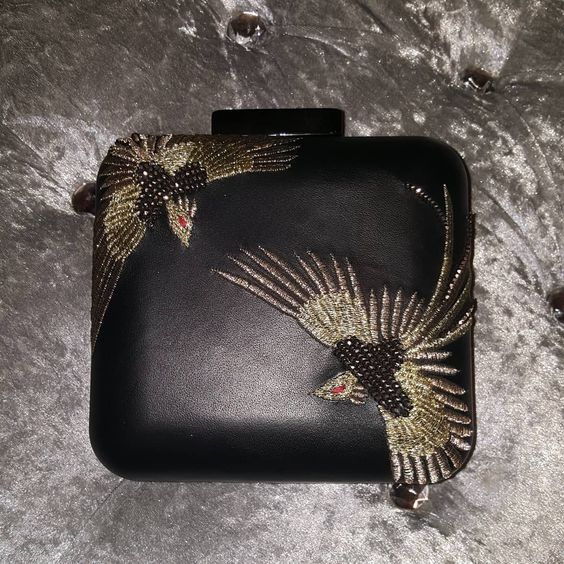 Glamorous Bird Embroidered Leather Clutch