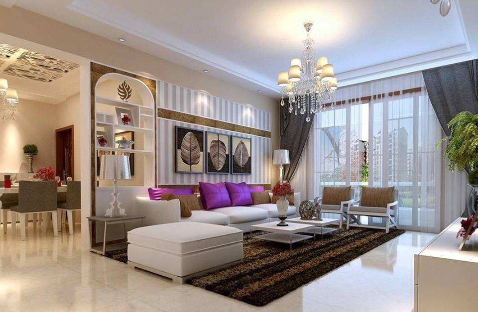 Glamorous Living Room With Colored Pillows