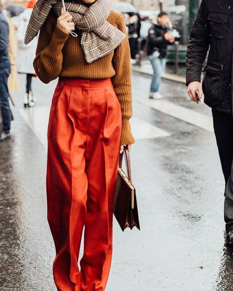 Glamorous Mustard Sweater Paired With Red Plazo Pant And Check Scarf
