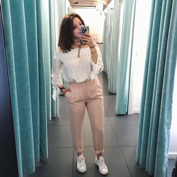 Glamorous White Off Shoulder Top With Pink Trouser