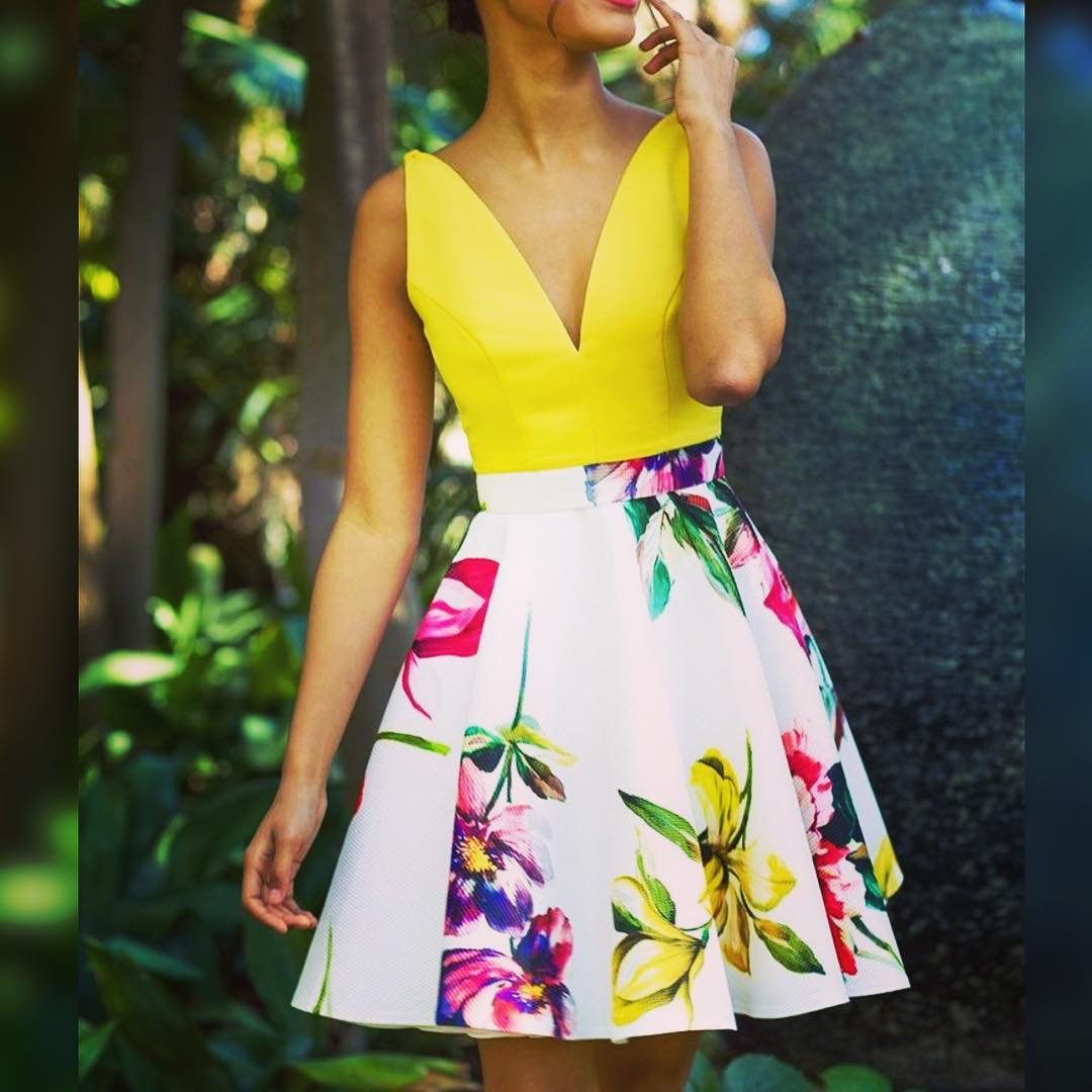 Glamorous Yellow And White Floral Summer Outfit