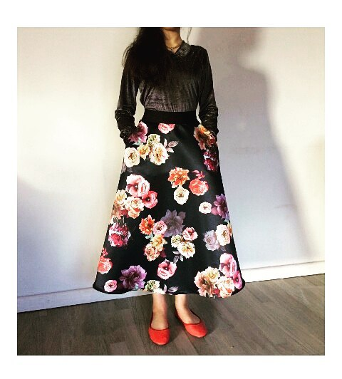 Glittery Black Top With Floral Black Skirt