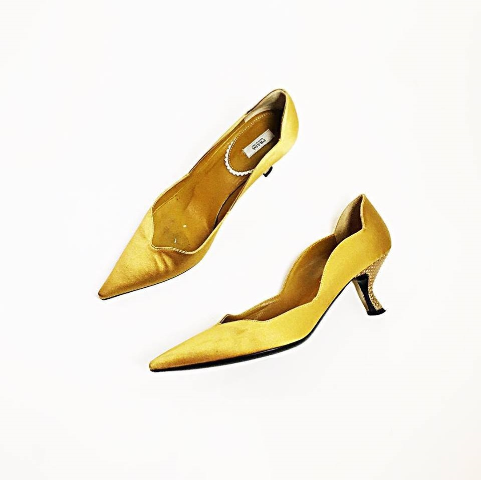 Golden Satin Kitten Heels