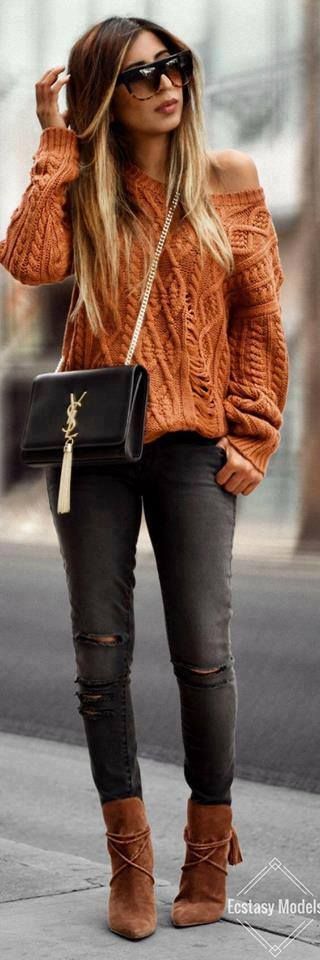 Gorgeous Handmade Orange Sweater With Ripped Jeans And Crossbody Bag