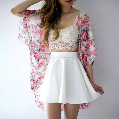 Gorgeous Lace Crop Top, White Skirt And Floral Shrug
