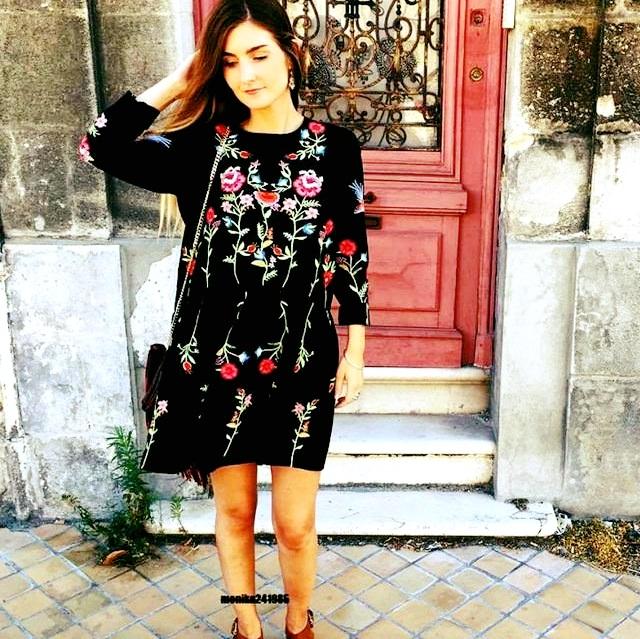 Graceful Black Flower Dress Perfect For Pre- Fall Season
